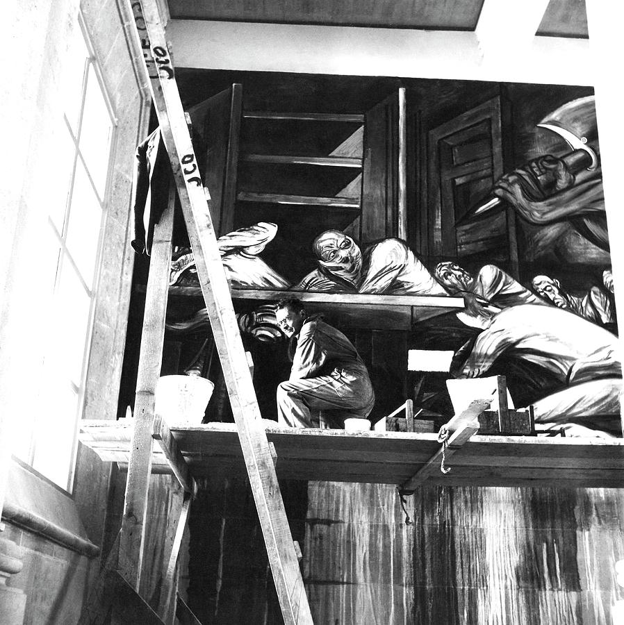Jose Clemente Orozco On Scaffolding Photograph by Horst P. Horst