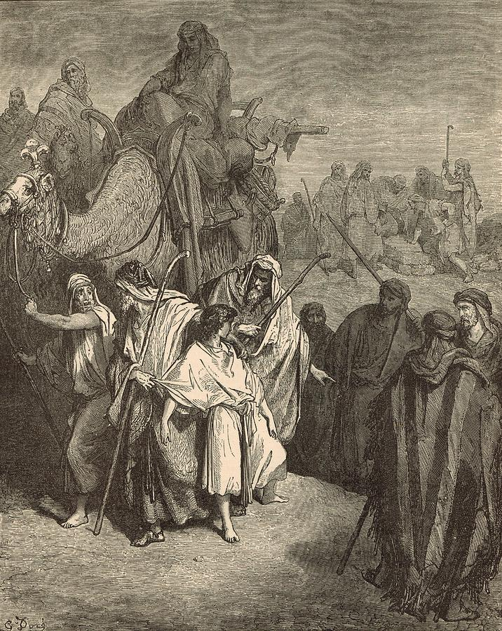 Antique Drawing - Joseph Sold Into Egypt by Antique Engravings