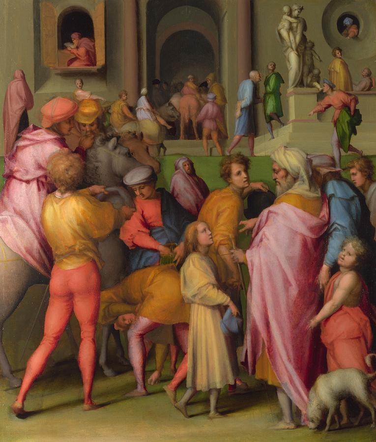 1515 Painting - Joseph Sold To Potiphar by Jacopo Pontormo