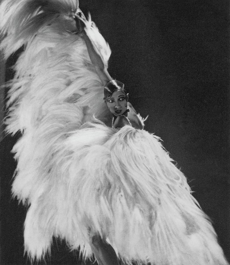 Josephine Baker Wearing A Feather Costume Photograph by George Hoyningen-Huene