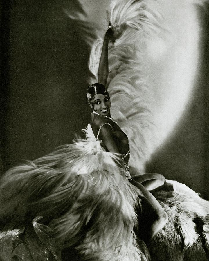 Josephine Baker Wearing A Feathered Cape Photograph by George Hoyningen-Huene