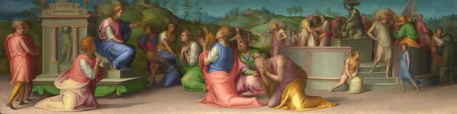 1515 Painting - Josephs Brothers Beg For Help by Jacopo Pontormo
