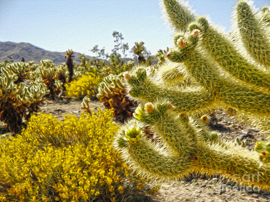 Joshua Tree Painting - Joshua Tree Cholla Cactus Garden by Gregory Dyer