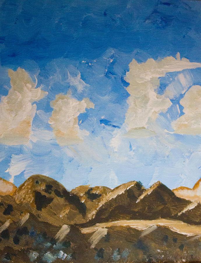 Jtnp Painting - Joshua Tree National Park And Summer Clouds by Carolina Liechtenstein