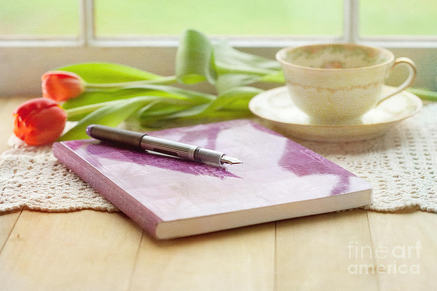 Tulips Photograph - Journal And Coffee by Kay Pickens