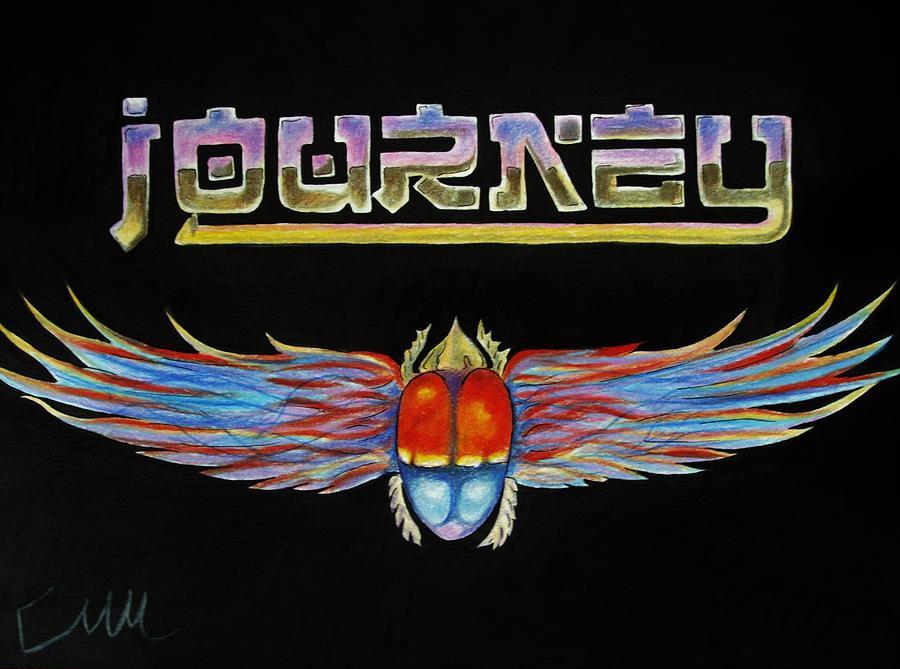 Journey Drawing - Journey Band Logo by Emily Maynard