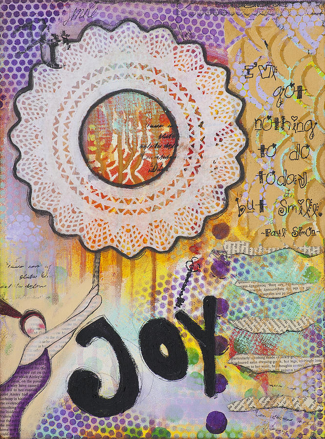 Stylized Painting Mixed Media - Joy And Smile Cheerful Inspirational Art by Stanka Vukelic