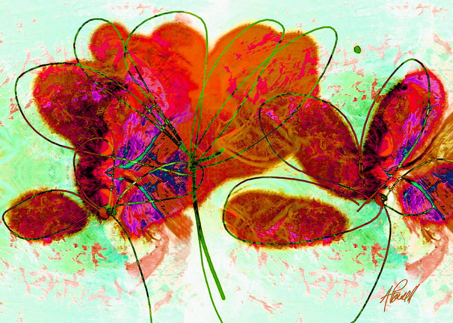 Abstract Painting - Joy Flower Abstract by Ann Powell