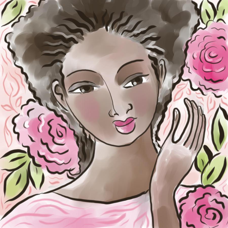 African American Digital Art - Joy In Flowers by Elaine Jackson