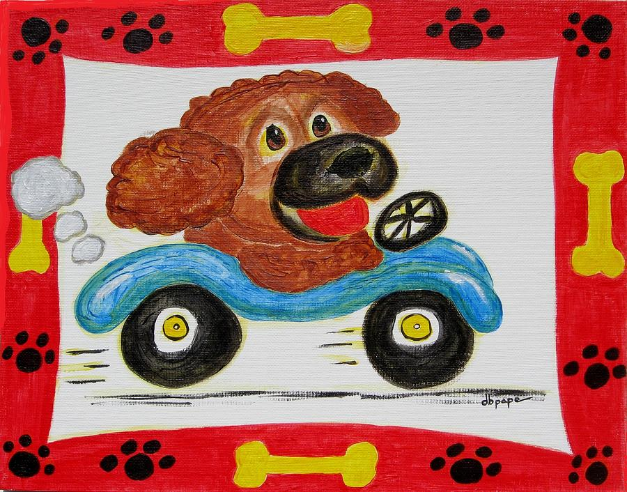 Dogs Painting - Joy Ride by Diane Pape