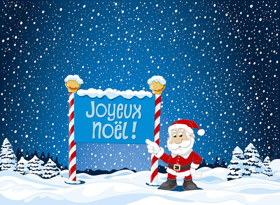 joyeux noel sign santa claus winter landscape digital art. Black Bedroom Furniture Sets. Home Design Ideas
