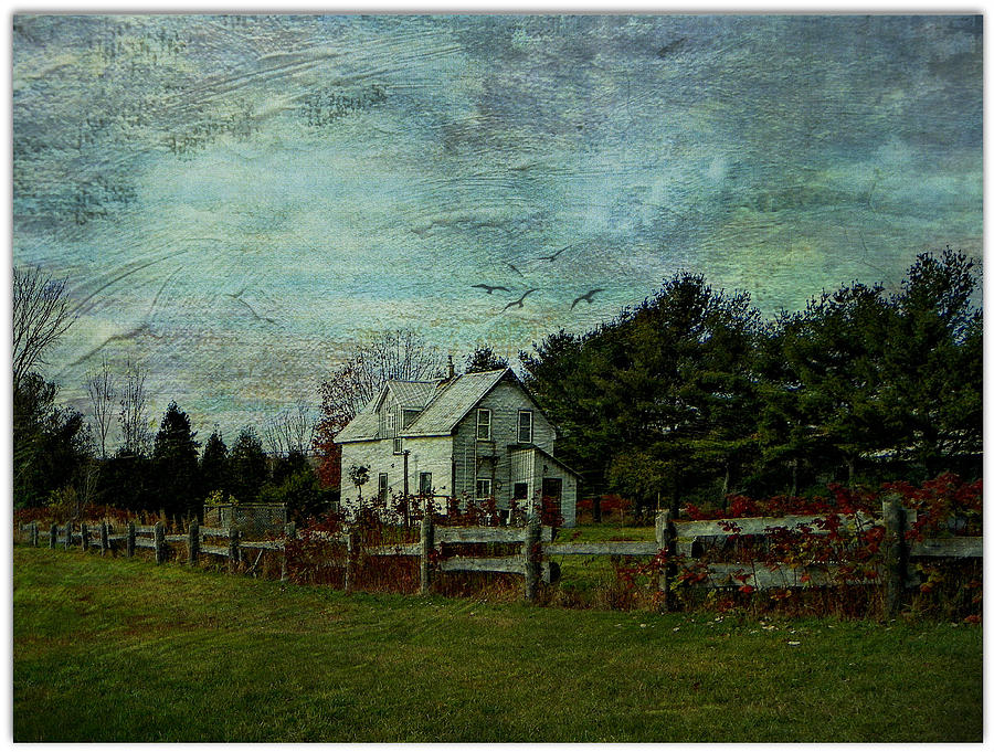 House Country Rural Fence Pasture Field Farm  Photograph - Joyful Country Life  by Dianne  Lacourciere