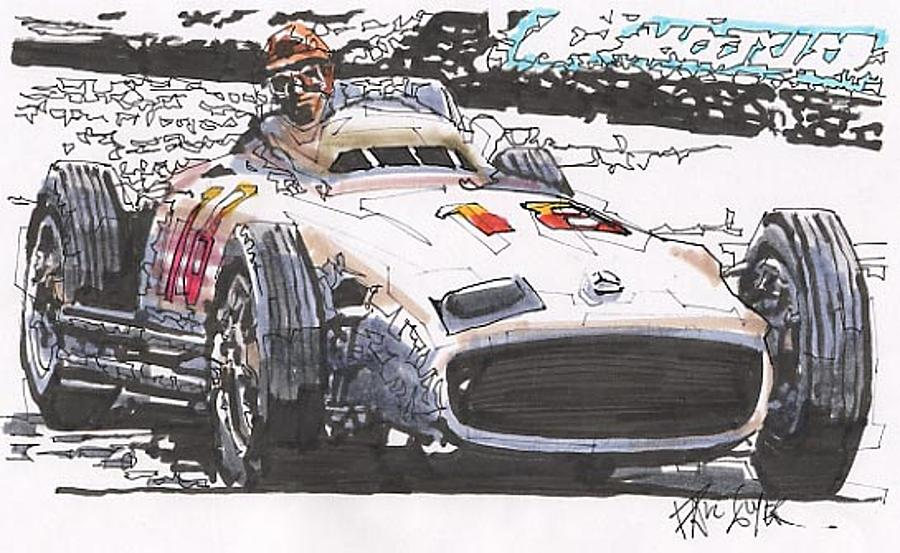 Automobile Racing Drawing - Juan Fangio Mercedes Benz German Grand Prix by Paul Guyer