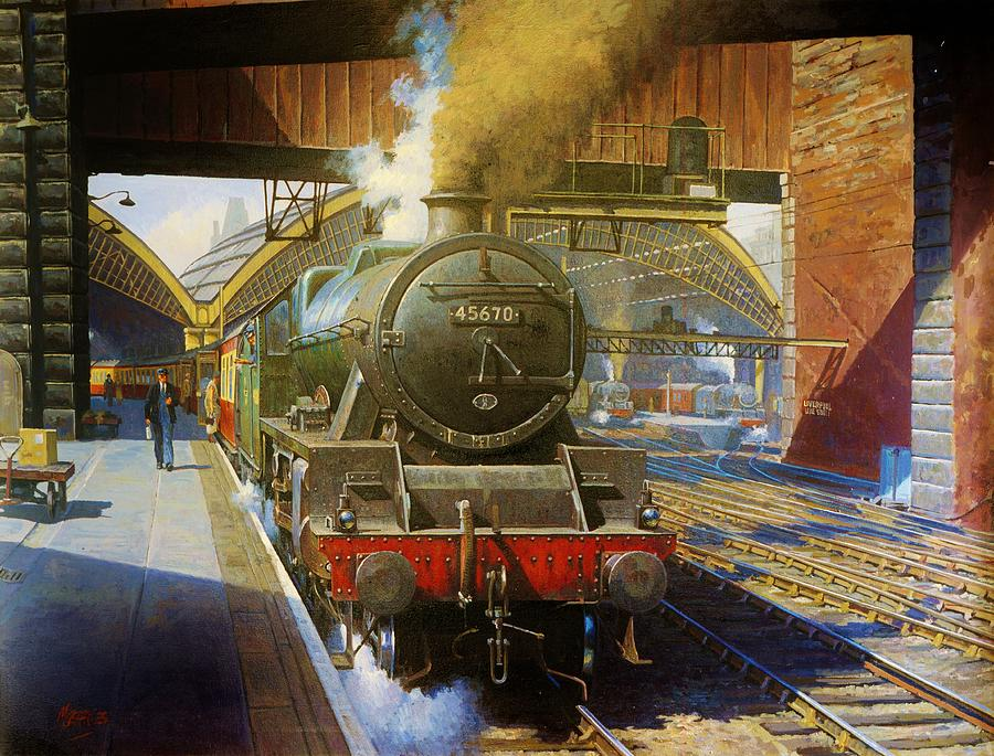 Train Painting - Jubilee 4.6.0 At Liverpool Lime Street. by Mike Jeffries
