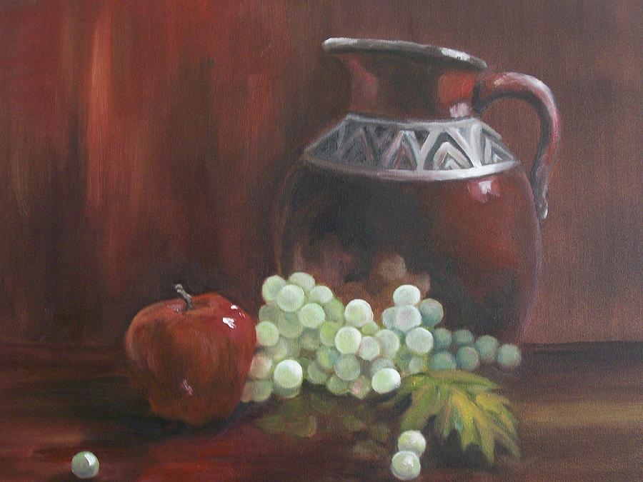 Red Painting - Jug With Frosty Grapes by Ellen Ebert