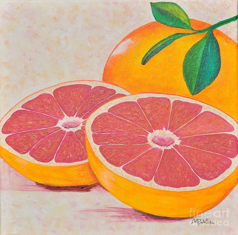 Citrus Painting - Juicy Pink Grapefruit by Sally Rice