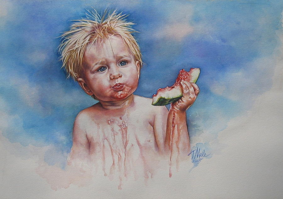 Little Boy With Watermelon Painting Painting - Juicy by Tracy Male