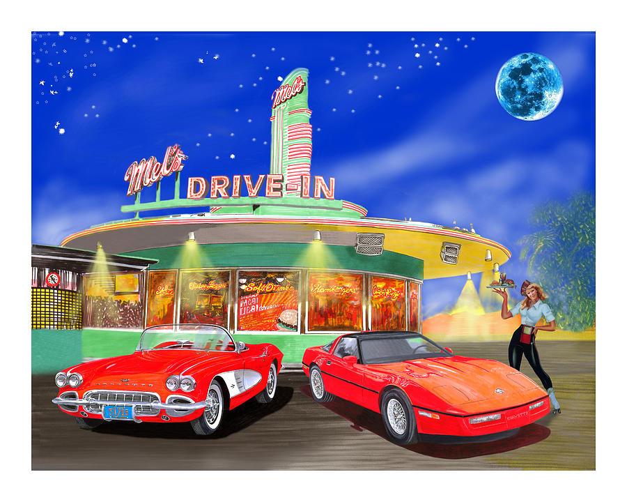 Sights Painting - Julies Corvettes by Jack Pumphrey