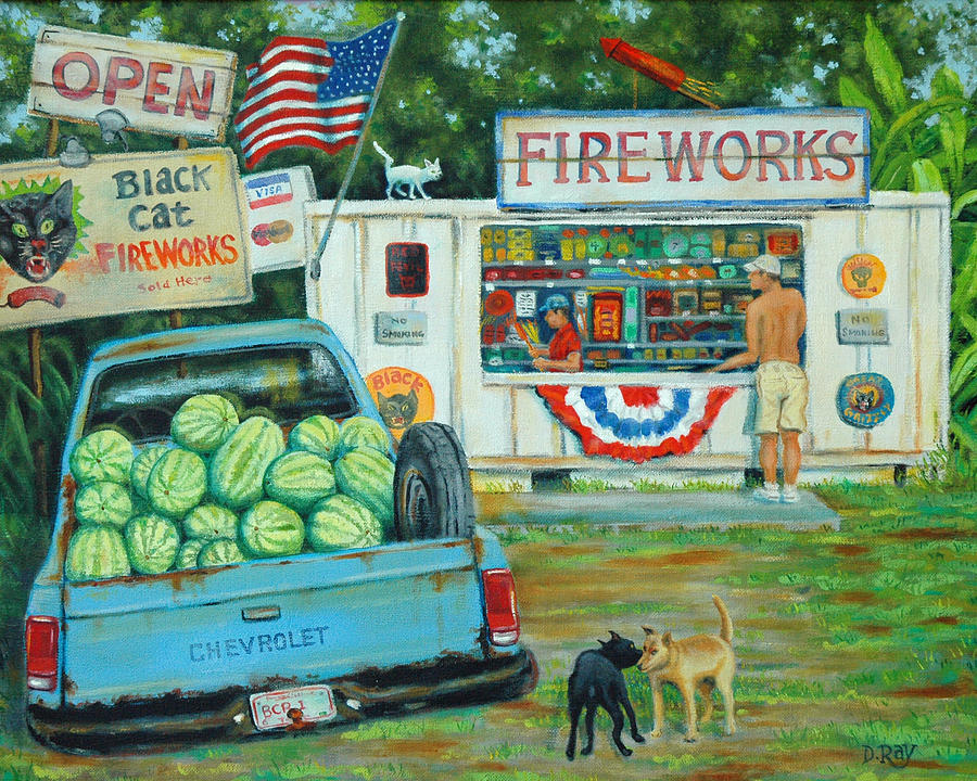 Fireworks Painting - July 3rd South Carolina by Dwain Ray