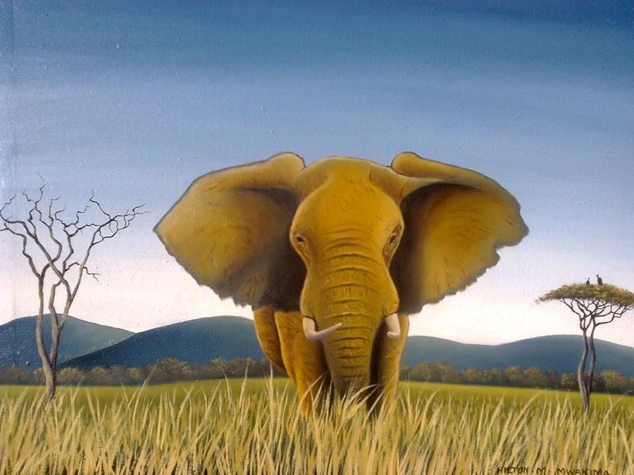 Elephant Painting - Jumbo by Hilton Mwakima