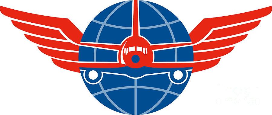 Illustration Digital Art - Jumbo Jet Plane Front Wings Globe by Aloysius Patrimonio