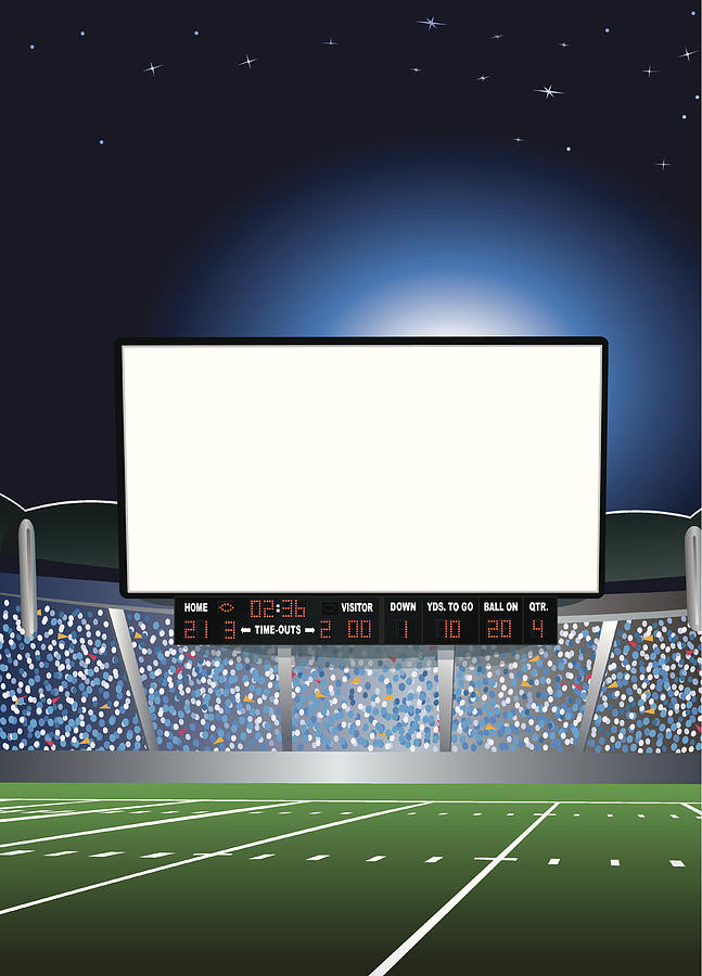 Jumbotron - Large Scale Screen in Football Stadium Background Drawing by KeithBishop