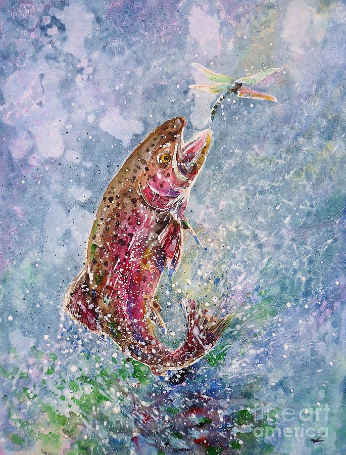 Trout Painting - Jump by Zaira Dzhaubaeva