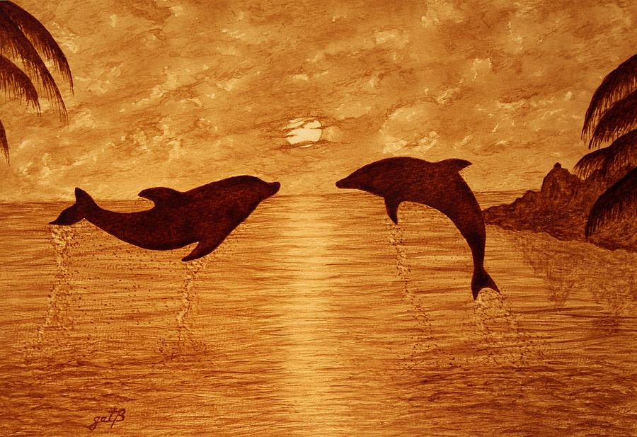 Tropical Sunset Painting - Jumping Dolphins At Sunset by Georgeta  Blanaru