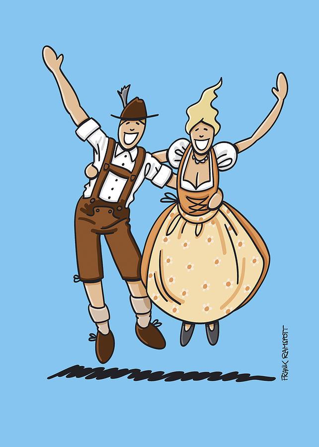 Frank Ramspott Drawing - Jumping Oktoberfest Lovers by Frank Ramspott