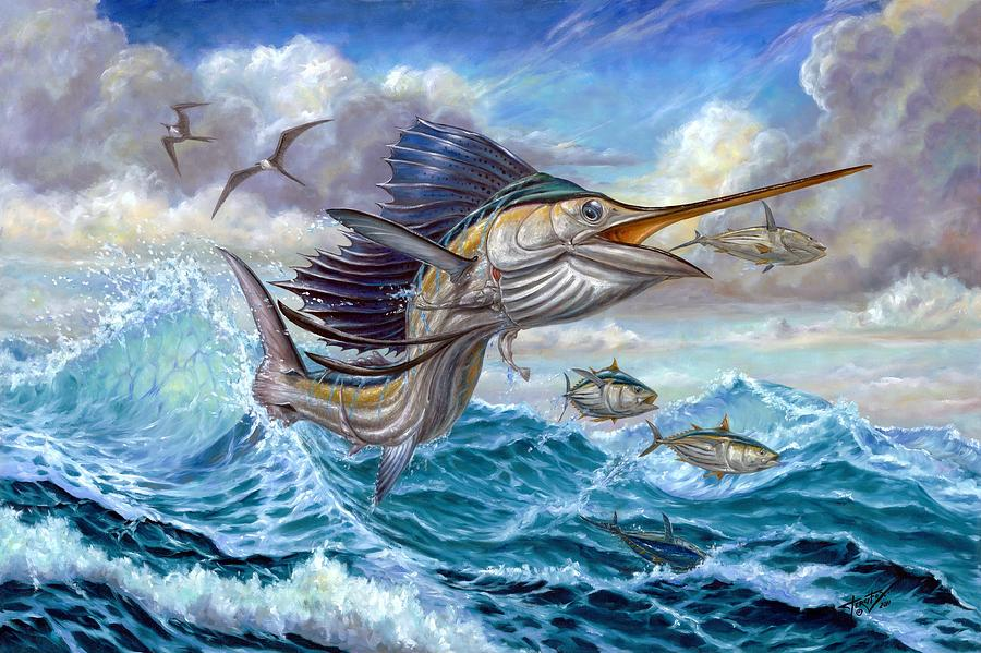 Jumping Sailfish And Small Fish by Terry Fox