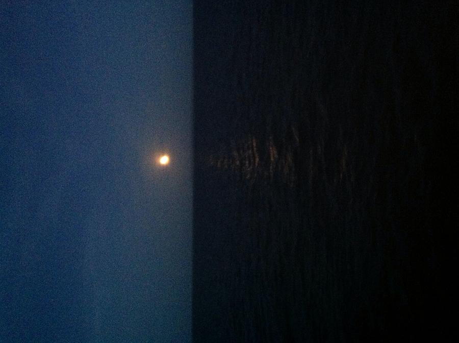 Spectacular Summer Moon Over Long Island Sound Traveling From Orient Point Photograph - June Moon by Debra Burgess