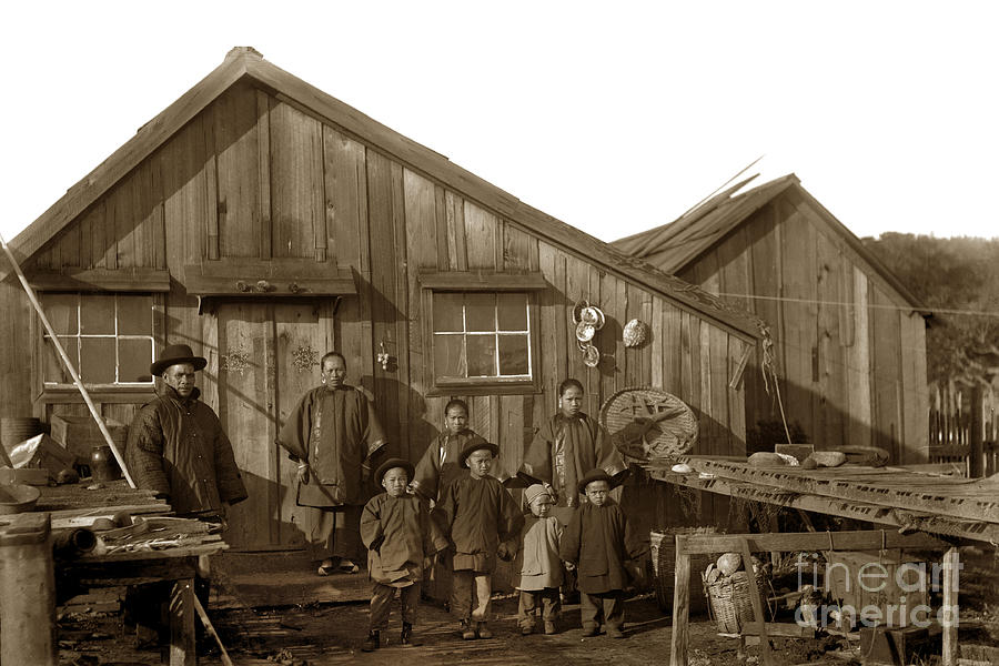 And Photograph - Jung San Choy And Chinese Family Pescadero Village Pebble Beach California Circa 1895 by California Views Mr Pat Hathaway Archives
