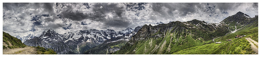 Panorama Photograph - Jungfrau Clouds And Grazing Cows by Luke Parsons