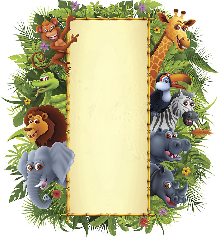 Jungle Animals And Bamboo Sign Drawing by AlonzoDesign