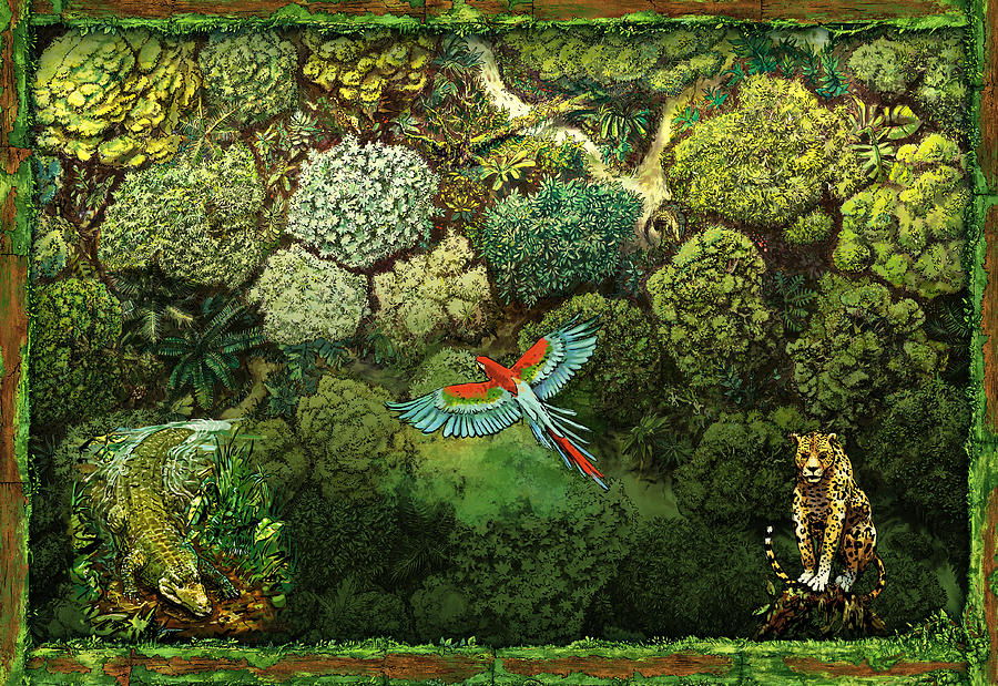 Jungle Mixed Media - Jungle animals framed by Odysseas Stamoglou