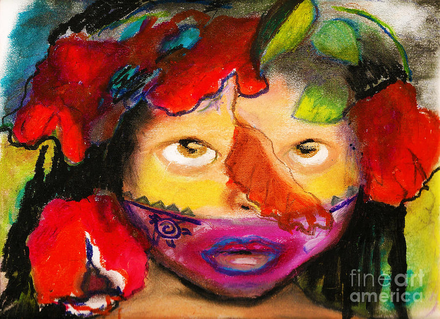 Mask Painting - Jungle Girl by Donna Chaasadah