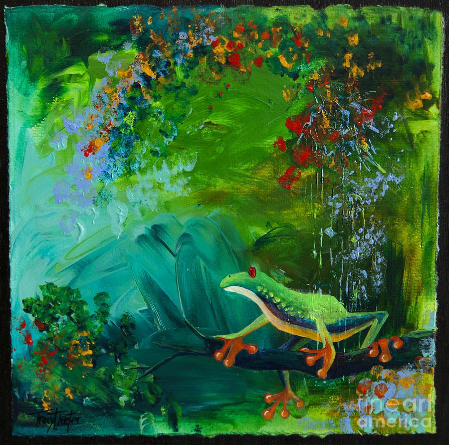 Tree Painting - Jungle Rains II by Tracy L Teeter