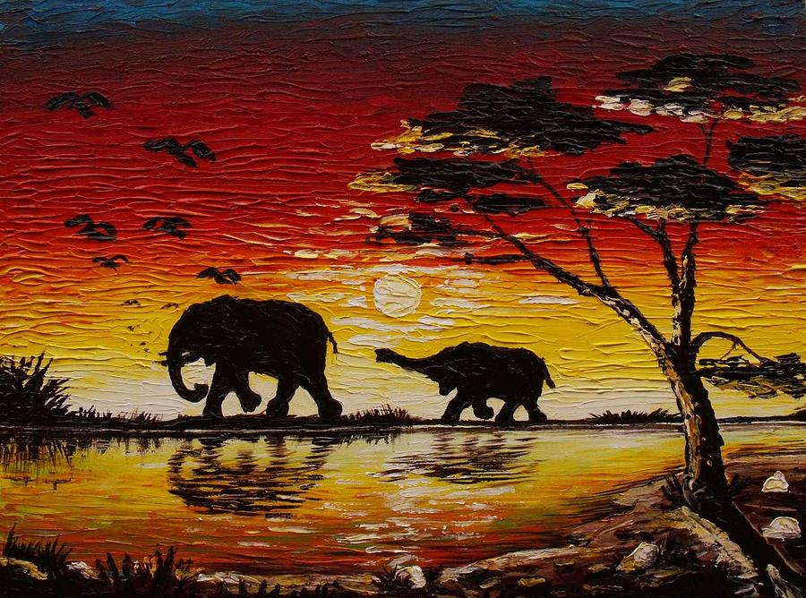 Jungle Sunset Painting By Real