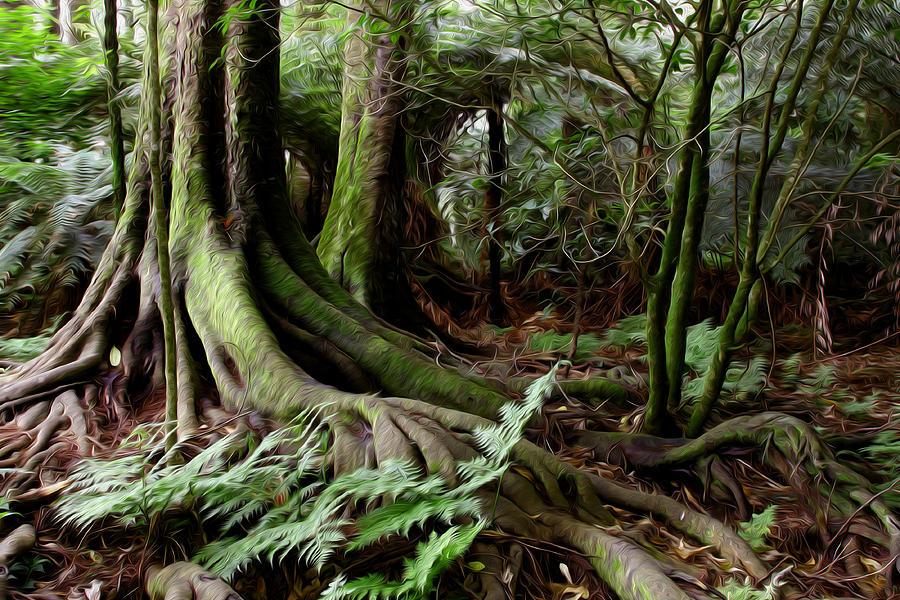 Big Digital Art - Jungle Trunks1 by Les Cunliffe