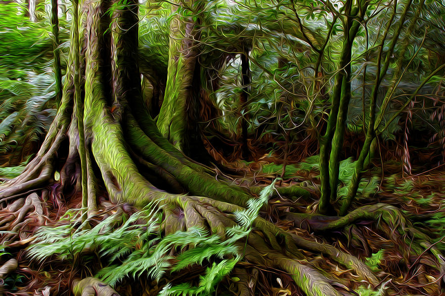 Big Digital Art - Jungle Trunks2 by Les Cunliffe