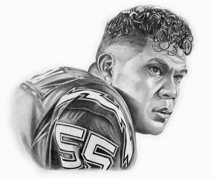 Junior Seau Drawing - Junior Seau by Don Medina