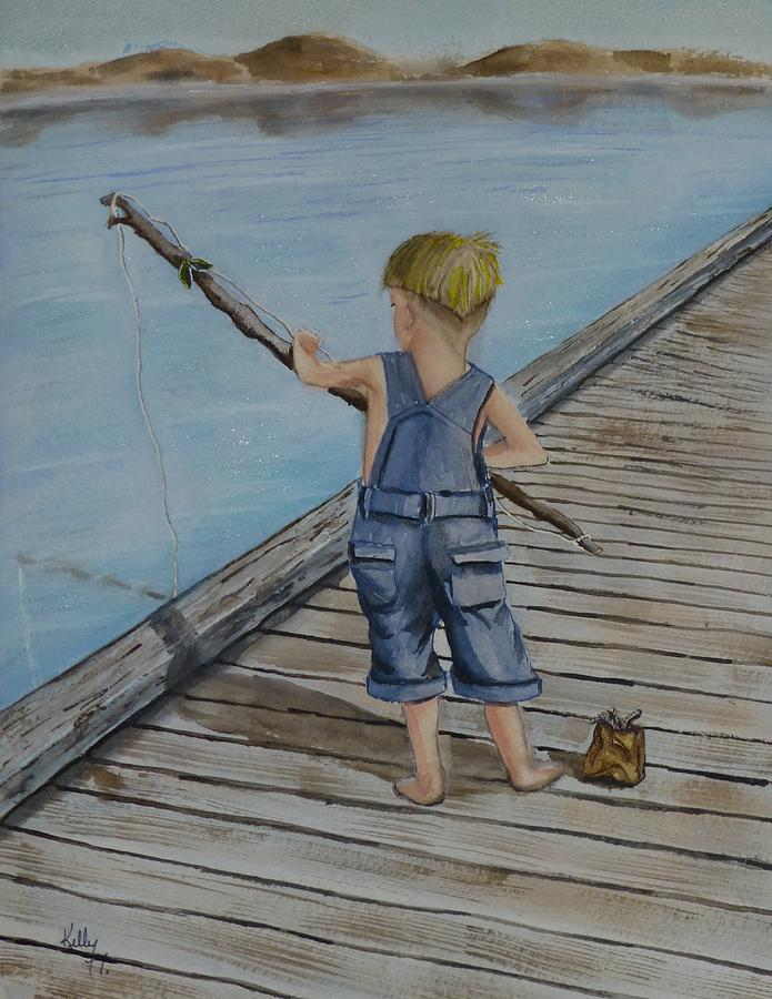juniors amazing fishing pole painting by kelly mills