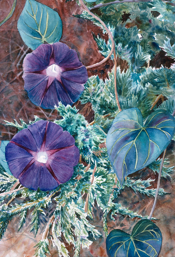 Juniper Painting - Juniper And Flowers by Tina Buechner
