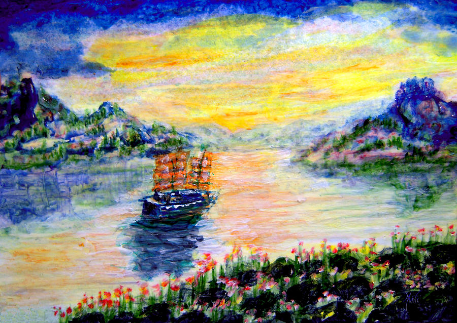 Junk At Sunrise Painting