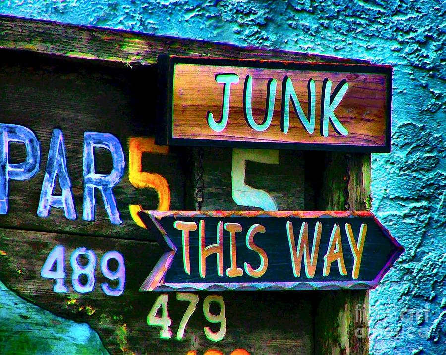 Signs Photograph - Junk This Way by Julie Dant