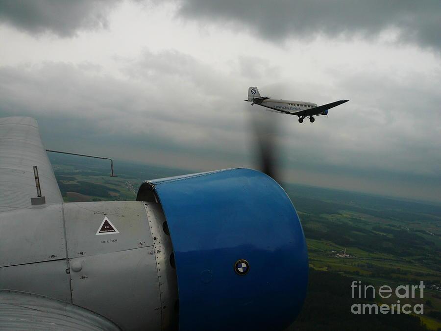 Ju-52 Photograph - Junkers Ju-52 Flight Under Dark Clouds by Joachim Kraus