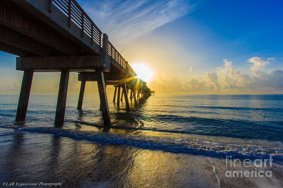 Pier Photograph - Juno Beach Sunrise by Lucy Raos