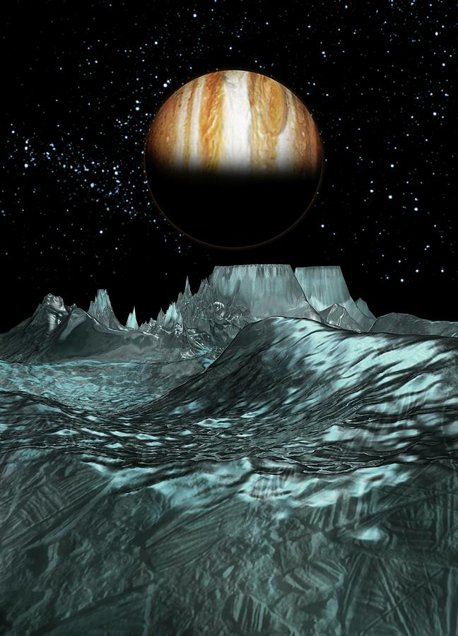 Jupiter From Europa, Artwork Digital Art by Victor Habbick Visions