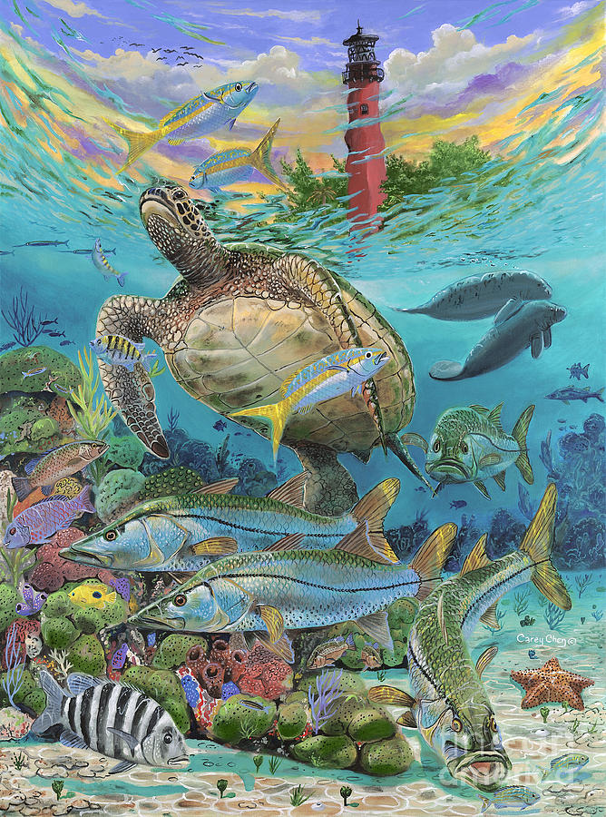 Turtles Painting - Jupiter Haven Re001 by Carey Chen