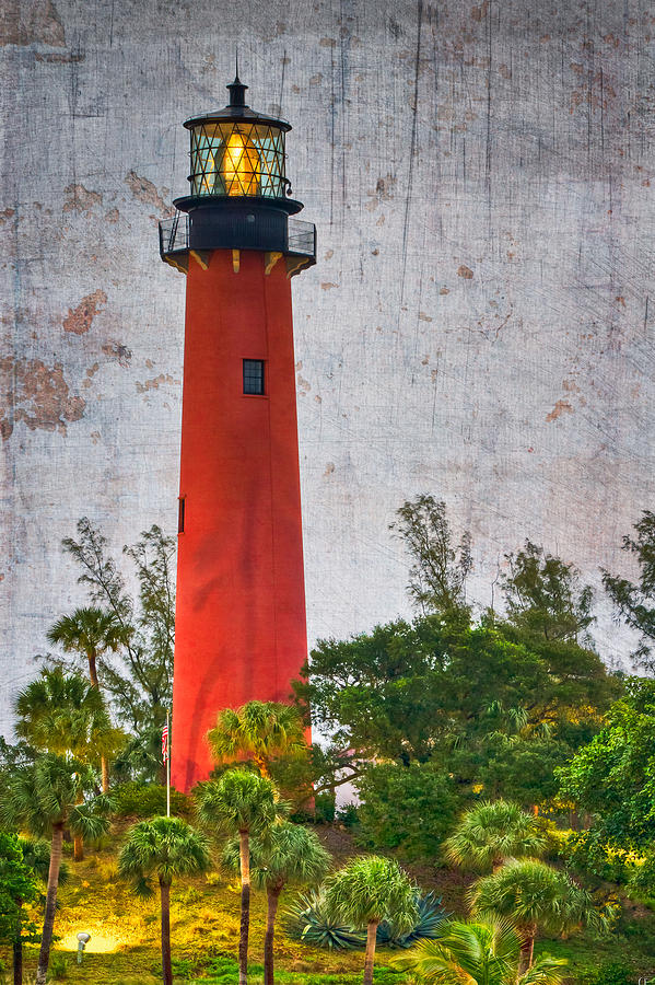 Clouds Photograph - Jupiter Lighthouse by Debra and Dave Vanderlaan